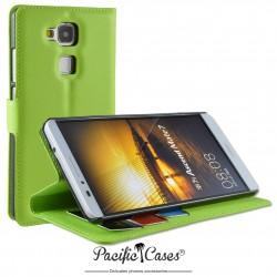 étui pour Huawei Ascend Mate 7 ouverture folio et fonction stand par Pacific Cases® - vert
