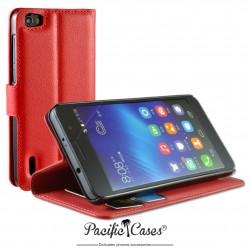 étui pour Huawei  Honor 6 ouverture folio et fonction stand par Pacific Cases® - rouge