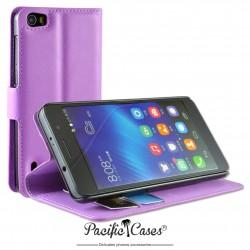 étui pour Huawei Honor 6 ouverture folio et fonction stand par Pacific Cases® - mauve