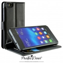 étui pour Huawei Honor 6 ouverture folio et fonction stand par Pacific Cases® - noir