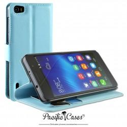 étui pour Huawei Honor 6 ouverture folio et fonction stand par Pacific Cases® - bleu clair