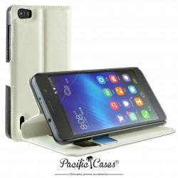 étui pour Huawei Honor 6 ouverture folio et fonction stand par Pacific Cases® - blanc