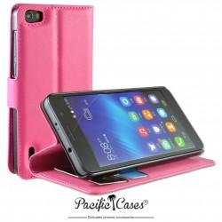 étui pour Huawei Honor 6 ouverture folio et fonction stand par Pacific Cases® - fuschia