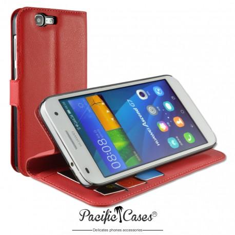 étui pour Huawei Ascend G7 ouverture folio et fonction stand par Pacific Cases® - rouge