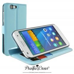 étui pour Huawei Ascend G7 ouverture folio et fonction stand par Pacific Cases® - bleu clair