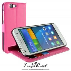 étui pour Huawei Ascend G7 ouverture folio et fonction stand par Pacific Cases® - fuschia
