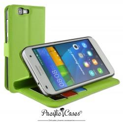 étui pour Huawei Ascend G7 ouverture folio et fonction stand par Pacific Cases® - vert