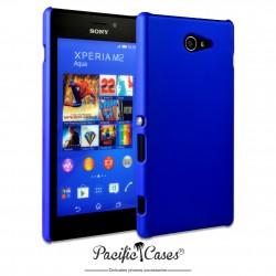 Coque pour Sony Xperia M2 Aqua touché gomme marque Pacific Cases® - bleu foncé