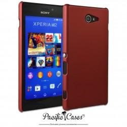 Coque pour Sony Xperia M2 touché gomme marque Pacific Cases® - rouge