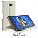 étui pour Sony Xperia M2 Aqua ouverture folio et fonction stand par Pacific Cases® - blanc