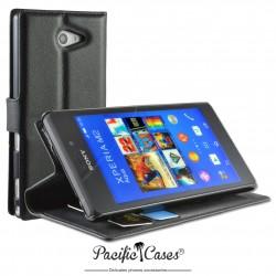 étui pour Sony Xperia M2 Aqua ouverture folio et fonction stand par Pacific Cases® - noir