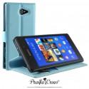 étui pour Sony Xperia M2 ouverture folio et fonction stand par Pacific Cases® - bleu clair