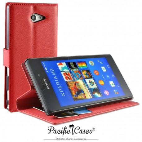 étui pour Sony Xperia M2 ouverture folio et fonction stand par Pacific Cases® - rouge