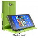 étui pour Sony Xperia M2 ouverture folio et fonction stand par Pacific Cases® - vert
