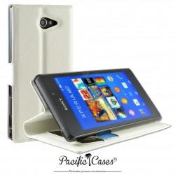 étui pour Sony Xperia M2 ouverture folio et fonction stand par Pacific Cases® - blanc