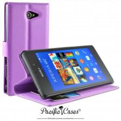 étui pour Sony Xperia M2 ouverture folio et fonction stand par Pacific Cases® - mauve