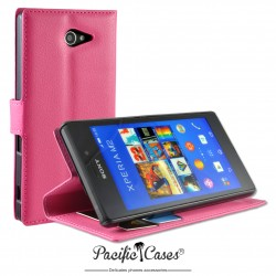 étui pour Sony Xperia M2 ouverture folio et fonction stand par Pacific Cases® - fuschia