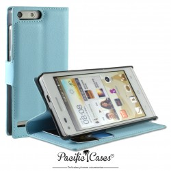 étui pour Huawei Ascend G6 ouverture folio et fonction stand par Pacific Cases® - bleu clair