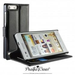 étui pour Huawei Ascend G6 ouverture folio et fonction stand par Pacific Cases® - noir