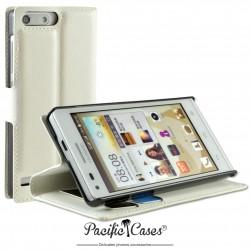 étui pour Huawei Ascend G6 ouverture folio et fonction stand par Pacific Cases® - blanc