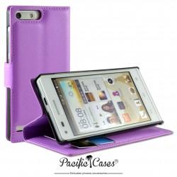 étui pour Huawei Ascend G6 ouverture folio et fonction stand par Pacific Cases® - mauve