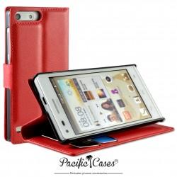 étui pour Huawei Ascend G6 ouverture folio et fonction stand par Pacific Cases® - rouge