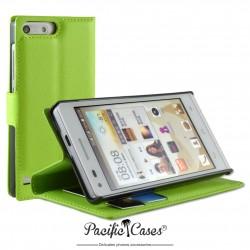 étui pour Huawei Ascend G6 ouverture folio et fonction stand par Pacific Cases® - vert
