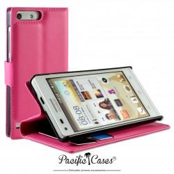 étui pour Huawei Ascend G6 ouverture folio et fonction stand par Pacific Cases® - fuschia