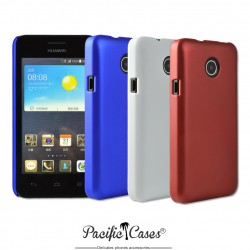 Coque pour Huawey Y330 bleu blanc rouge rigide touché gomme par Pacific Cases - lot de 3