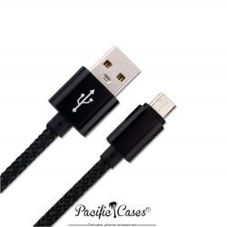 Câble Micro USB 2.0 vers USB Type A 1 mètre en nylon et métal noir