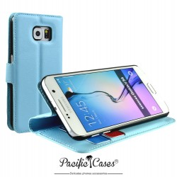 étui pour Samsung S6 bleu clair folio et fonction stand
