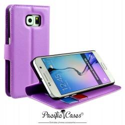 étui pour Samsung S6 mauve folio et fonction stand