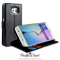 étui pour Samsung S6 noir folio et fonction stand