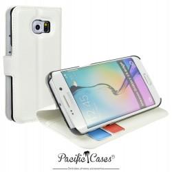 étui pour Samsung S6 Edge ouverture folio et fonction stand par Pacific Cases® - blanc