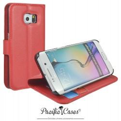 étui pour Samsung S6 Edge ouverture folio et fonction stand par Pacific Cases® - rouge