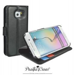 étui pour Samsung S6 Edge ouverture folio et fonction stand par Pacific Cases® - noir
