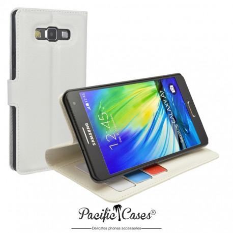 étui pour Samsung A7 ouverture folio et fonction stand par Pacific Cases® - blanc