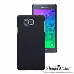 Coque pour Samsung Galaxy Alpha noire touché gomme