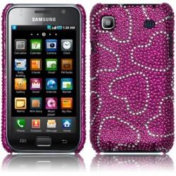 Coque rubis et diamants motifs coeurs pour Samsung Galaxy I9000
