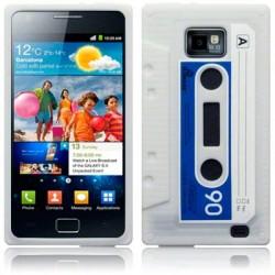 Coque blanche silicone forme cassette Samsung i9100 Galaxy S2