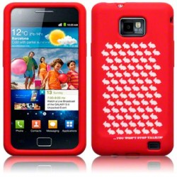 Coque silicone rouge avec motif lapins blancs Samsung i9100 Galaxy SII