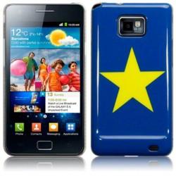Coque bleue avec motif étoile jaune Samsung i9100 Galaxy SII
