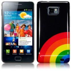 Coque noire avec motif arc en ciel Samsung i9100 Galaxy SII