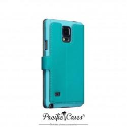 étui pour Samsung Galaxy Note 4 bleu turquoise ouverture folio fonction stand