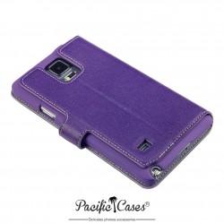 étui pour Samsung Galaxy Note 4 violet ouverture folio fonction stand
