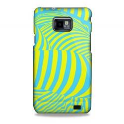 Coque rigide motifs zébrures jaunes et bleues Samsung Galaxy S2