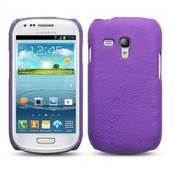 Coque cuir violet imitation pour Samsung S3 mini