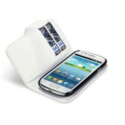 Etui blanc ouverture porte-feuille pour Samsung S3 mini