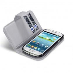 Etui gris clair ouverture porte-feuille pour Samsung S3 mini