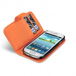 Etui orange ouverture porte-feuille pour Samsung S3 mini